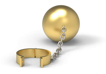 Golden cuffs and weight ball and platinum chain. Slave of wealth concept. 3d illustration Stock Photo