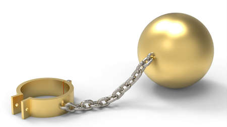 Golden shackles, weight ball and platinum chain. Slave of wealth concept. 3d illustration Stock Photo