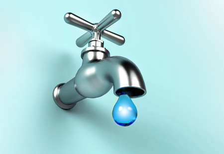 Leaking Faucet and drop of water. Save Water concept. 3d illustration Stock Photo