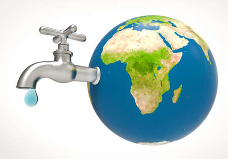 Water drop and faucet on planet earth. Save Water concept. 3d illustration