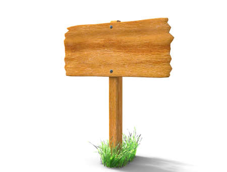 Blank wooden board sign and grass isolated on white. 3d illustration Stock Photo