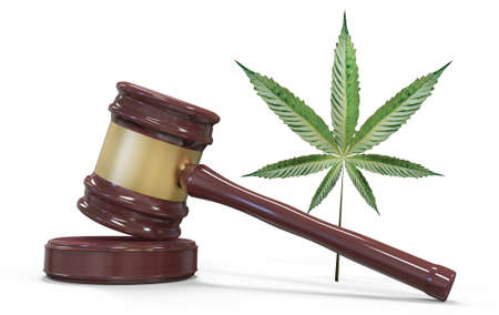 Gavel and marijuana isolated on white. Law and judiciary concept. 3D illustration Stock Photo