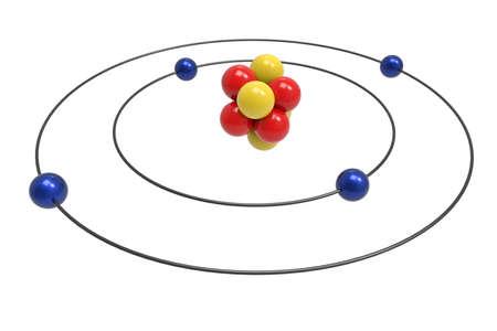 Nitrogen Atom Bohr Model With Proton Neutron And Electron 3d