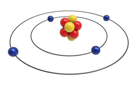 Bohr model of Beryllium Atom with proton, neutron and electron. Science and chemical concept 3d illustration