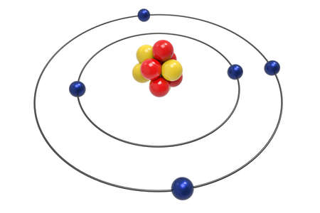 Bohr model of Boron Atom with proton, neutron and electron. Science and chemical concept 3d illustration