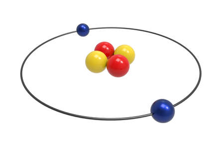Bohr model of Helium Atom with proton, neutron and electron. Science and chemical concept 3d illustration Stock Photo