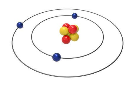 Neon Atom Bohr Model With Proton Neutron And Electron 3d