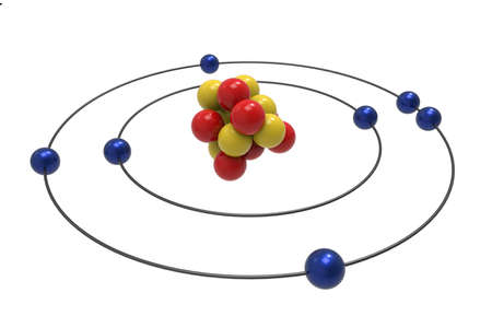 Bohr model of Nitrogen Atom with proton, neutron and electron. Science and chemical concept 3d illustration