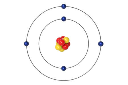Boron Atom Bohr model with proton, neutron and electron. 3d illustration Banque d'images