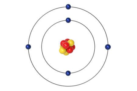 Boron Atom Bohr model with proton, neutron and electron. 3d illustration Stock Photo