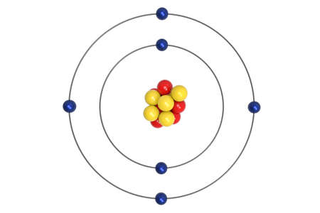 Carbon Atom Bohr Model With Proton Neutron And Electron 3d Stock