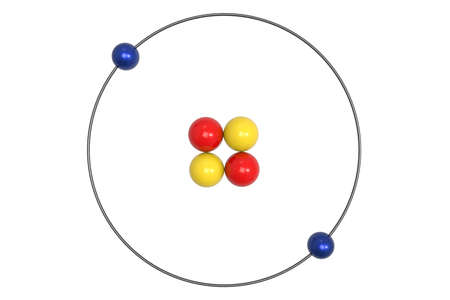 Helium Atom Bohr model with proton, neutron and electron. 3d illustration