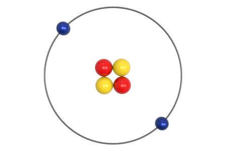 Helium Atom Bohr model with proton, neutron and electron. 3d illustration