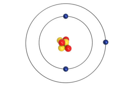 Lithium Atom Bohr model with proton, neutron and electron. 3d illustration