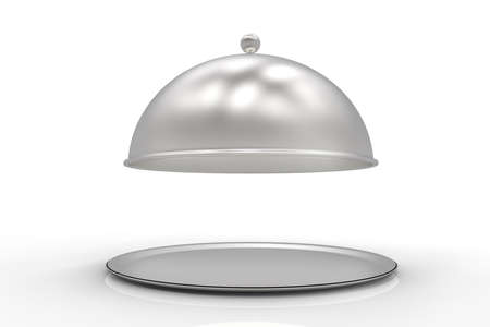 Restaurant Cloche with open lid isolated on white. 3d illustration