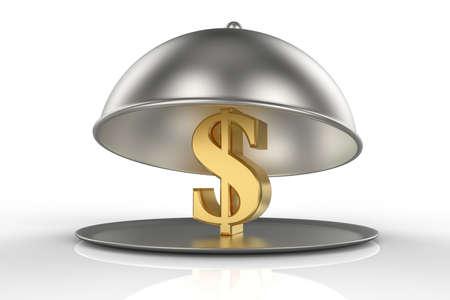Restaurant Cloche with golden sign of Dollar. 3D illustration
