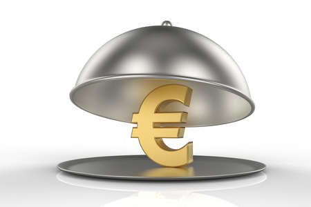 Restaurant Cloche with golden sign of Euro. 3D illustration