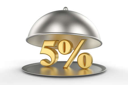 Restaurant cloche with golden 5 percent off Sign on white background. 3D illustration