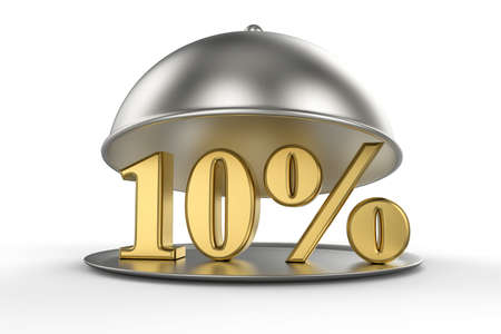 Restaurant cloche with golden 10 percent off Sign on white background. 3D illustration Stock Photo
