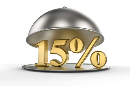 Restaurant cloche with golden 15 percent off Sign on white background. 3D illustration