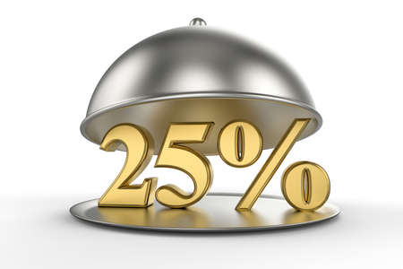 Restaurant cloche with golden 25 percent off Sign on white background. 3D illustration