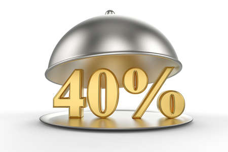 Restaurant cloche with golden 40 percent off Sign on white background. 3D illustration