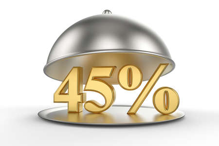Restaurant cloche with golden 45 percent off Sign on white background. 3D illustration