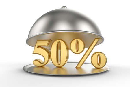 Restaurant cloche with golden 50 percent off Sign on white background. 3D illustration