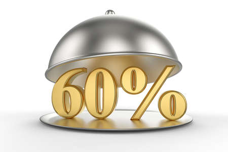 Restaurant cloche with golden 60 percent off Sign on white background. 3D illustration