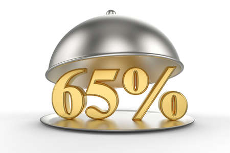 Restaurant cloche with golden 65 percent off Sign on white background. 3D illustration