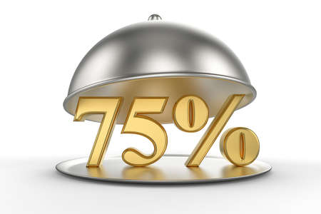 Restaurant cloche with golden 75 percent off Sign on white background. 3D illustration Stock Photo