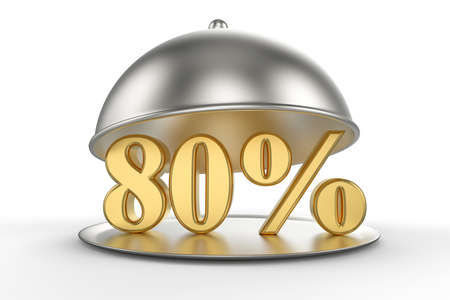 Restaurant cloche with golden 80 percent off Sign on white background. 3D illustration Stock Photo