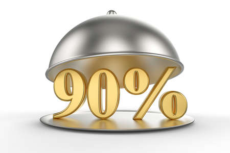 Restaurant cloche with golden 90 percent off Sign on white background. 3D illustration