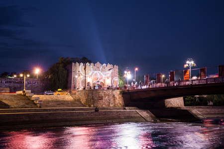 Nis, Serbia - August 25, 2018 Old medieval fortress and colorful river and bridge on event film festival in city of Nis, Serbia, Europe. Long exposures concept