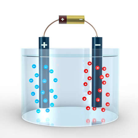 Electrolysis process of water with anode and cathode in water and electric battery. Negative blue Anions and positive red Cations go towards metal pipe. 3D Illustration Stock Photo