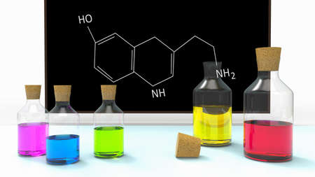 Bottles with liquid in chemistry classroom on desk and blackboard with formula of serotonin. Medical and science concept. 3D Illustration