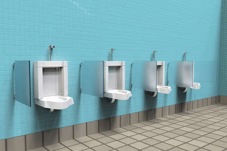 Public toilets with white porcelain urinals in line. Modern clean mens room with tiles . Comfort male toilet urinal concept. 3d illustration rendering Standard-Bild - 115798470