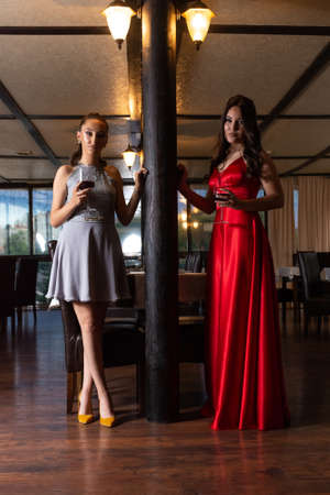 Two girls with red wine glasses posing in the retro restaurant. Girls wear a red and gray elegant dress. Drink and fashion concept. Close up, selective focus 写真素材