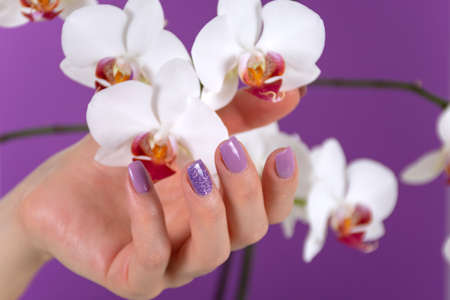 Woman hand with a lilac color nails polish gel and beautiful orchid flower decoration on purple background in the studio. Manicure and beauty concept. Close up, selective focus