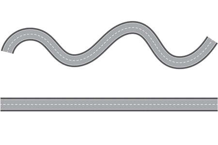 Straight and winding road lane. Seamless asphalt road template isolated on white background. Highway or roadway background. Vector illustration. Copy space for design