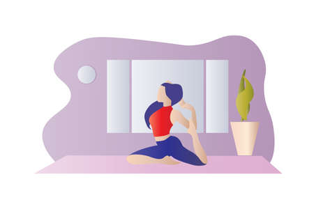 Young girl doing yoga at home. Concept of a healthy lifestyle and physical activity during the quarantine. Modern interior of the living room in the background. Flat vector illustration