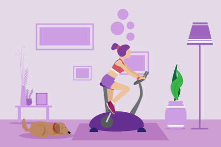 Sport girl on an exercise bike at home in the living room. Training apparatus for legs. Woman on a stationary bike. Keep calm during quarantine concept, vector illustration and copy space