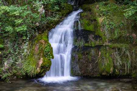 Beautiful mountain waterfall in a green forest on natural park Ozren, Serbia in Europe on a sunny summer day. Long exposition and blurred motion, selective focus 版權商用圖片
