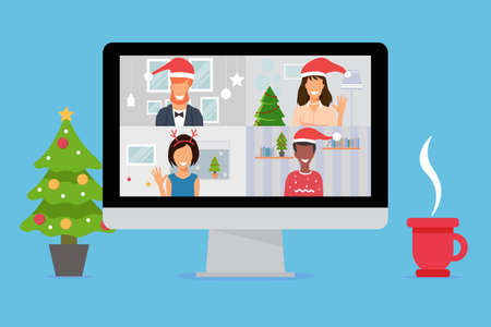 Peoples celebrating New Year on video conferencing call on computer. New normal and covid 19 concept. Flat design vector illustration Vektorové ilustrace
