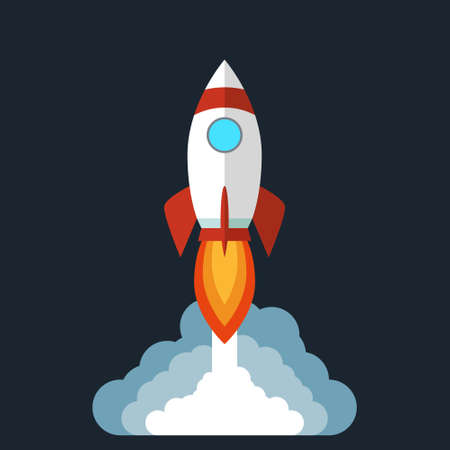 Rocket launches in space and emits smoke isolated on black background. Copy space for design or text. Flat style design vector Ilustração