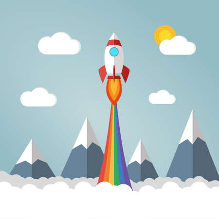 Rocket launches in the sky flying over mounts and white fluffy clouds and emits rainbow colored smoke. Copy space for design or text. Flat style design vector