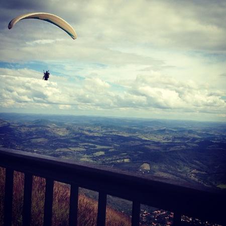 Paragliding among the clounds Banco de Imagens