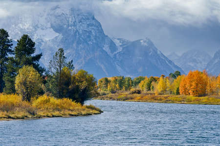 Fall colors light up Oxbow Bend photo