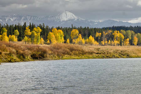 Yellows highlight a stormy view of Grand Tetons photo