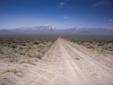 unmarked: Desert vista of snowy mountains from dirt road Nevad USA